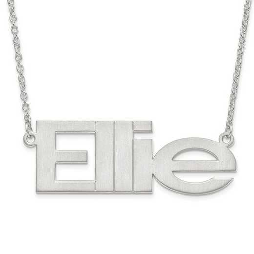 XNA633SS: Sterling Silver Rh-pltd Brushed Laser Nameplate w/ Chain