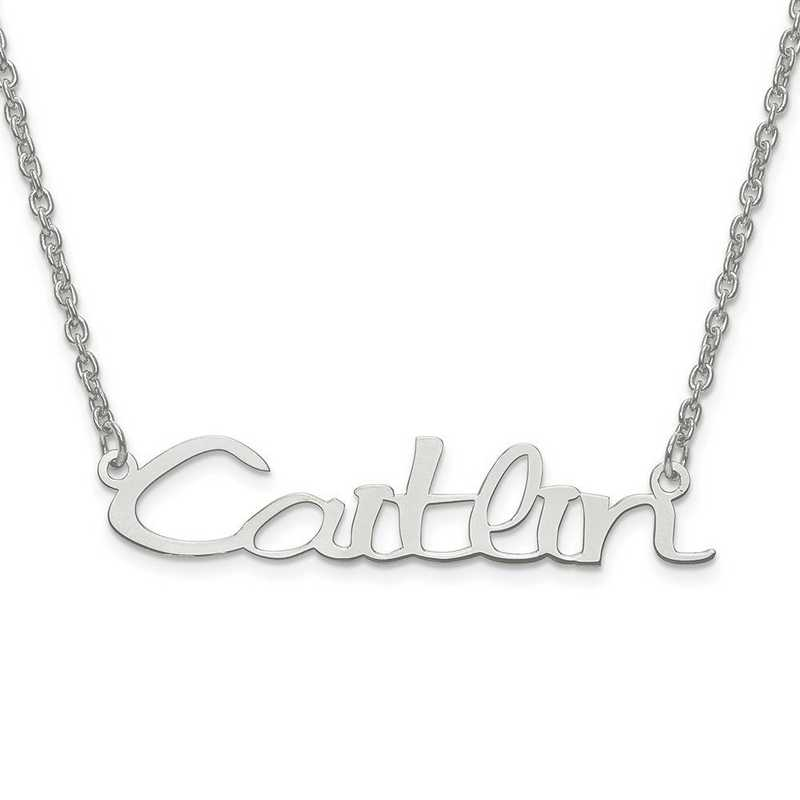 XNA635SS: Sterling Silver Rh-plated Laser Polished Nameplate w/ Chain