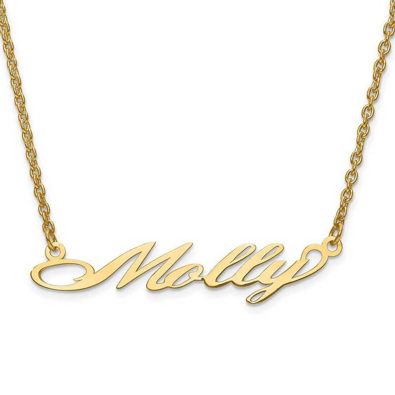 XNA636GP: Sterling Silver GP Laser Polished Nameplate with Chain
