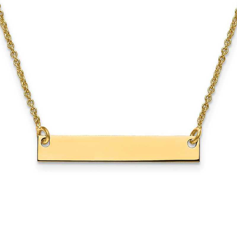 XNA637GP: Gold Plated/S Silver Small Polished Blank Bar with Chain