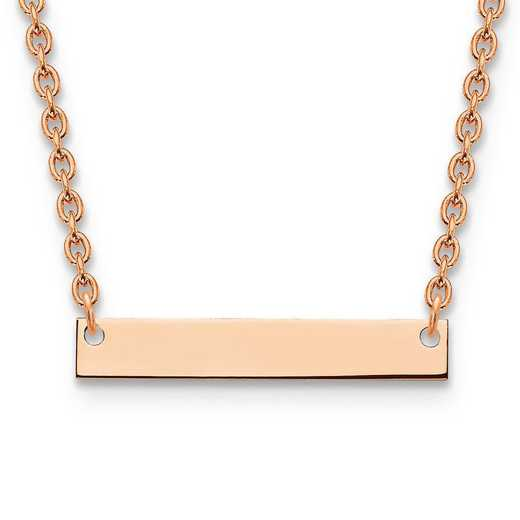 XNA637RP: Rose Gold-plated/SS Small Polished Blank Bar with Necklace