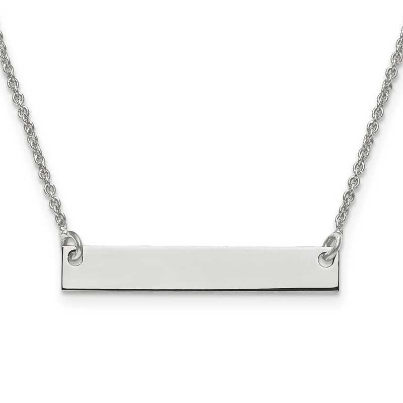 XNA637SS: Sterling Silver Rh-plated Small Polished Blank Bar w/ Chain