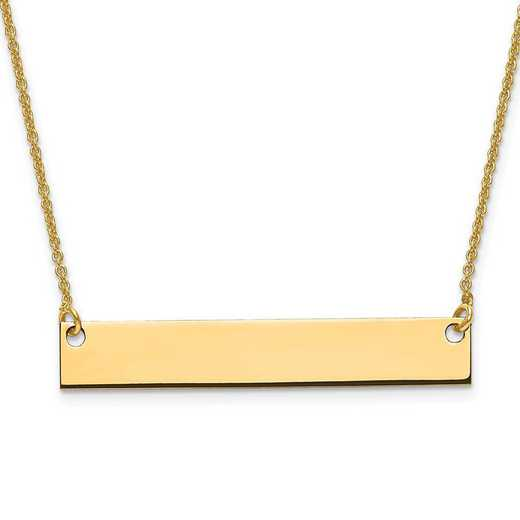 XNA638GP: Gold Plated/S Silver Medium Polished Blank Bar with Chain
