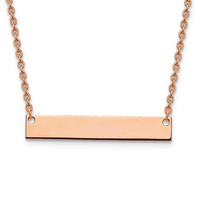 XNA638RP: Rose Gold-plated/S Silver Medium Polished Blank Bar Necklace