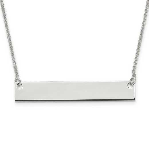 XNA638SS: Sterling Silver Rh-plated Medium Polished Blank Bar w/ Chain