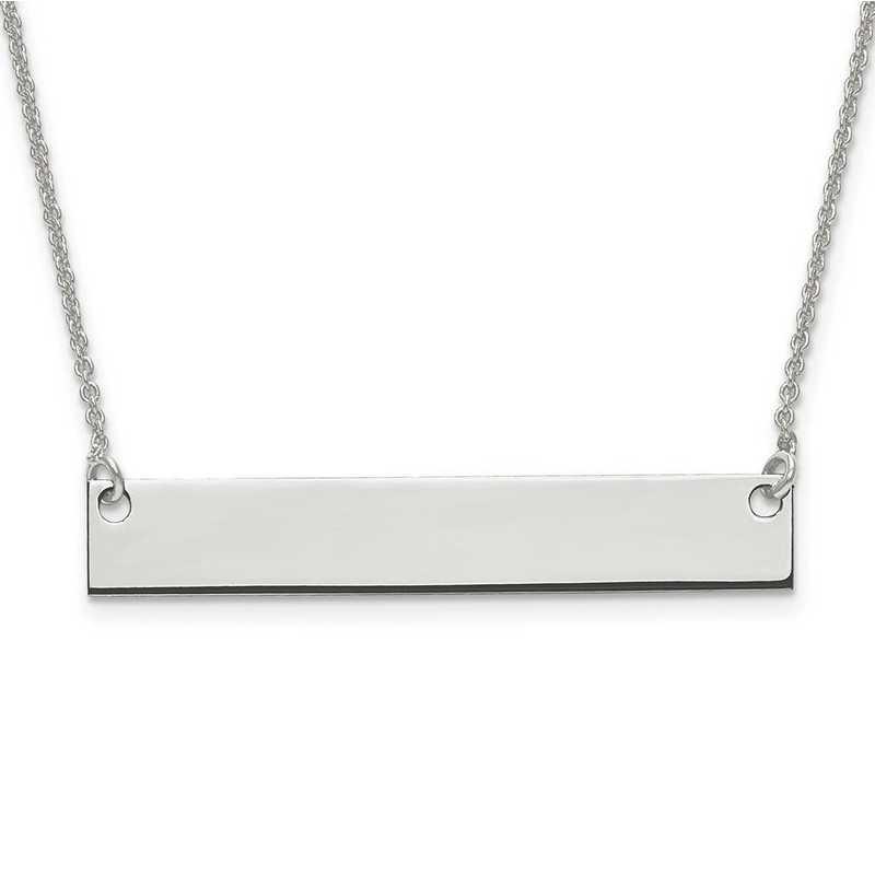 XNA638SS: Sterling Silver Rh-plated Medium Polished Blank Bar w/ Chain