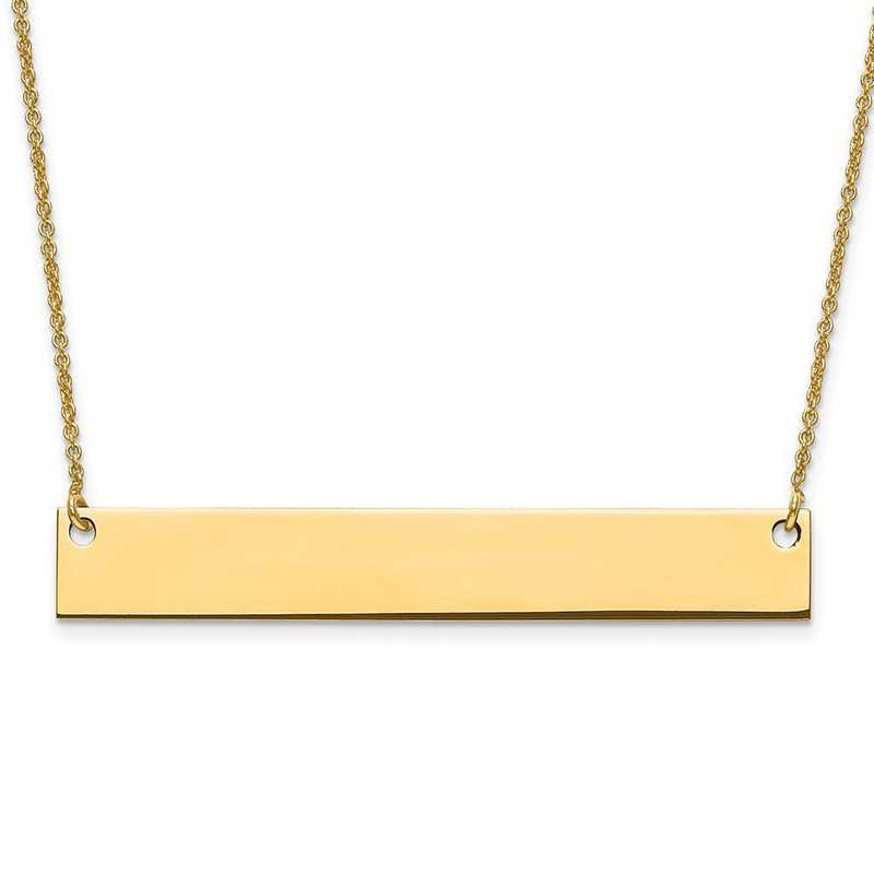 XNA639GP: Gold Plated/S Silver Large Polished Blank Bar with Chain
