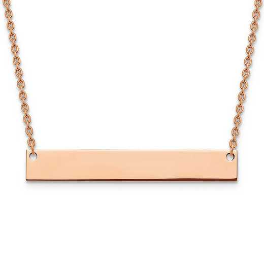 XNA639RP: Rose Gold-plated/S Silver Large Polished Blank Bar Necklace