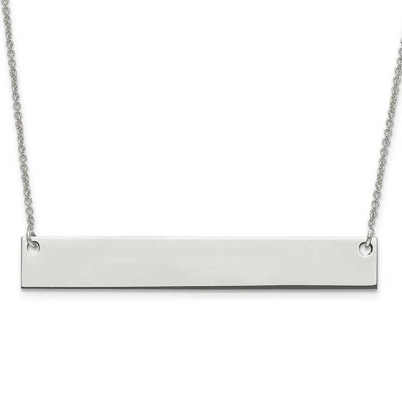 XNA639SS: Sterling Silver Rh-plated Large Polished Blank Bar w/ Chain