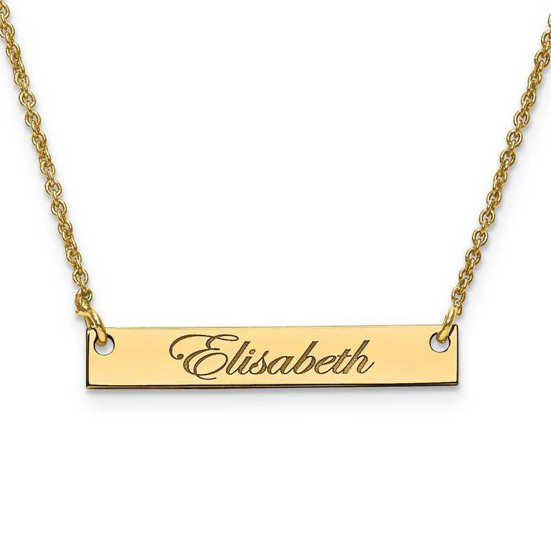 XNA640GP: Gold Plated/S Silver Small Polished Script Name Bar w/ Chain