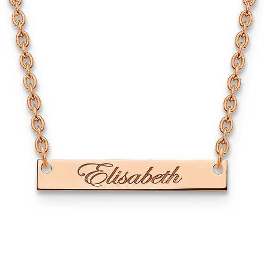 XNA640RP: Rose Gold-plated/SS Small Polished Script Name Bar Necklace