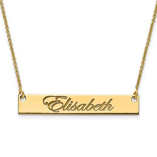 XNA641GP: Gold Plated/SS Medium Polished Script Name Bar with Chain