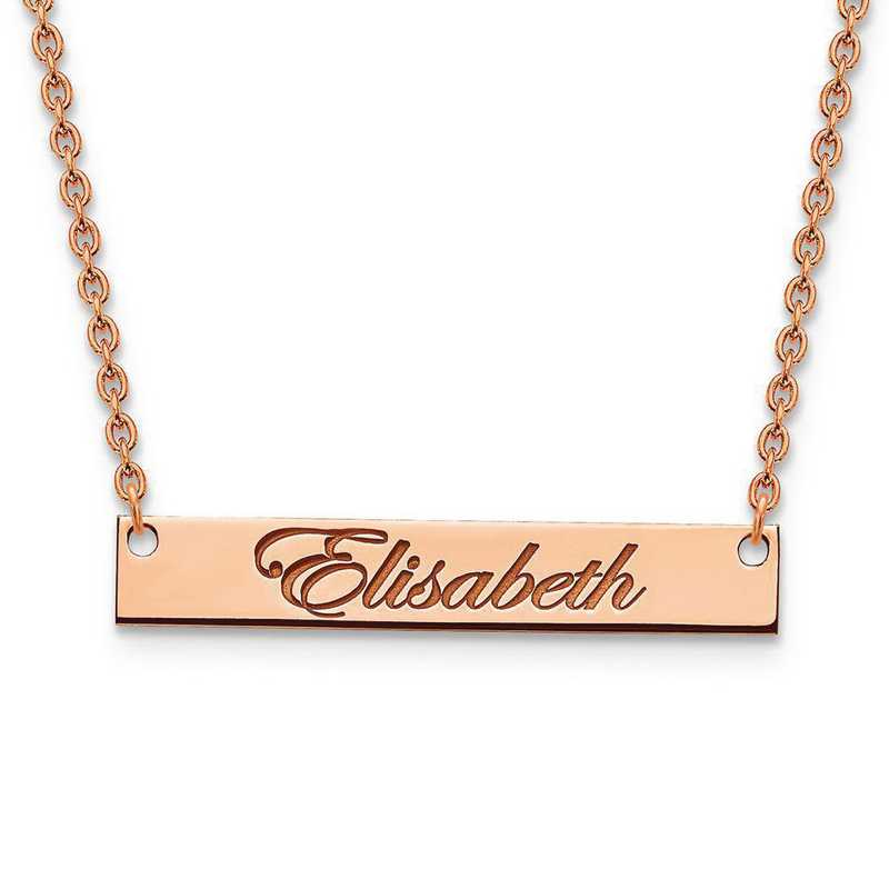 XNA641RP: Rose Gold-plated/SS Medium Polished Script Name Bar Necklace