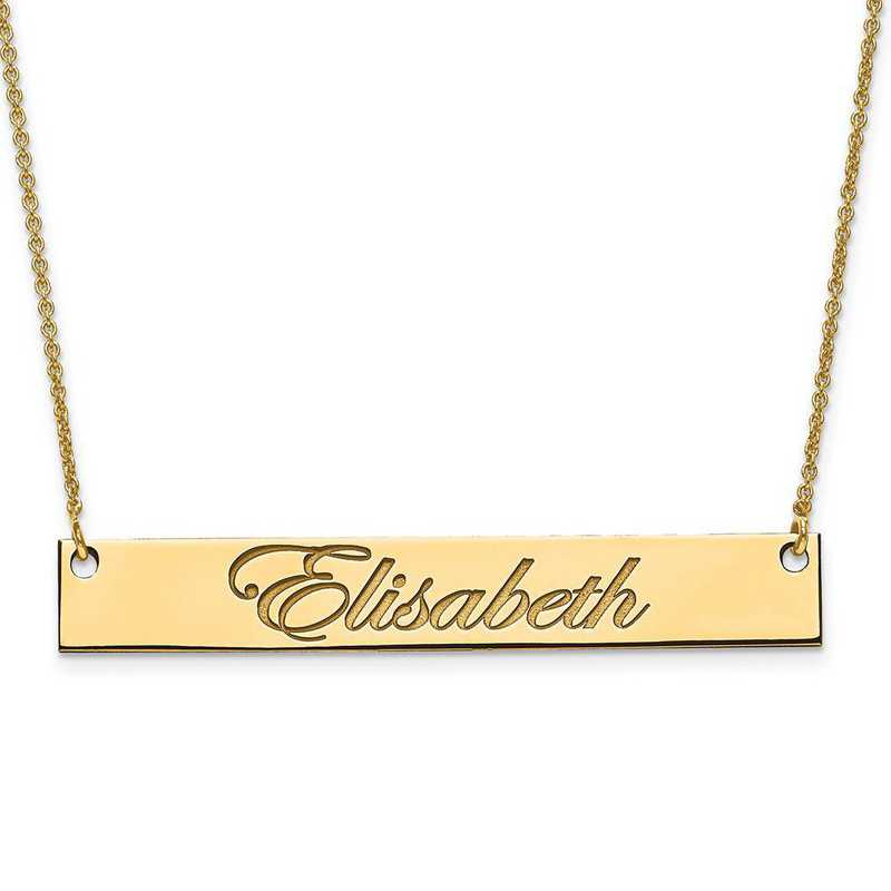 XNA642GP: Gold Plated/S Silver Large Polished Script Name Bar w/ Chain