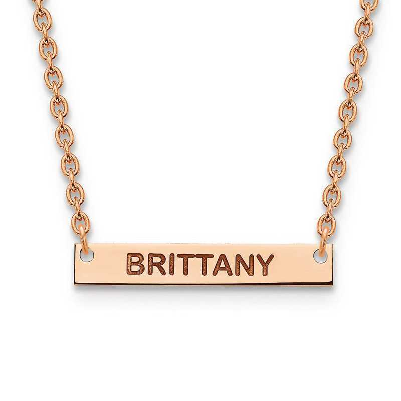 XNA643RP: Rose Gold-p/SS Small Polished Block Letter Name Bar Necklace