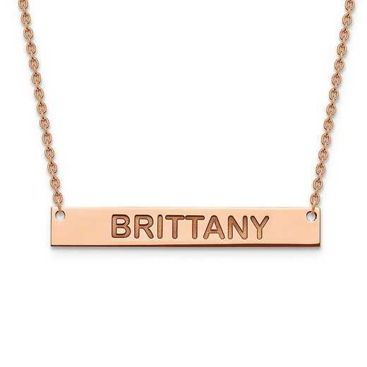 XNA645RP: Rose Gold-plated/SS Polished Block Letter Name Bar Necklace