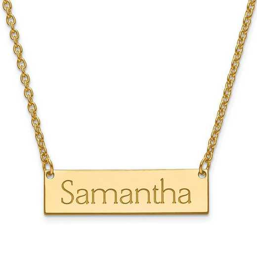 XNA647GP: Gold Plated/SS Recessed Letters Polished Name Bar w/ Chain