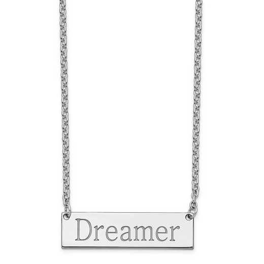 XNA647SSA: Sterling Silver Rhodium-Plated Polished Dreamer Bar Necklace