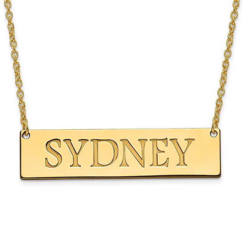 XNA648GP: Gold Plated/SS Recessed Letters Polished Name Bar with Chain
