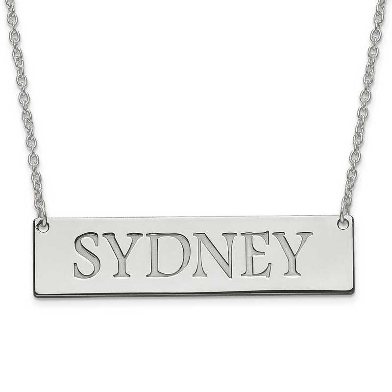 XNA648SS: Sterling Silver Rh-plt Recess Polished Name Bar w/ Chain