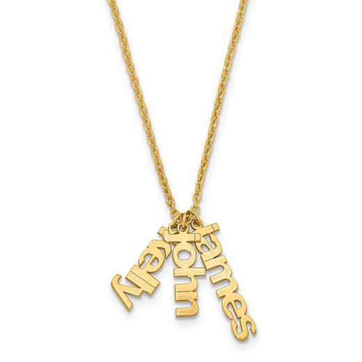 XNA650GP: Gold Plated/SS Mom's Satin Name Charms Necklace w/ Chain