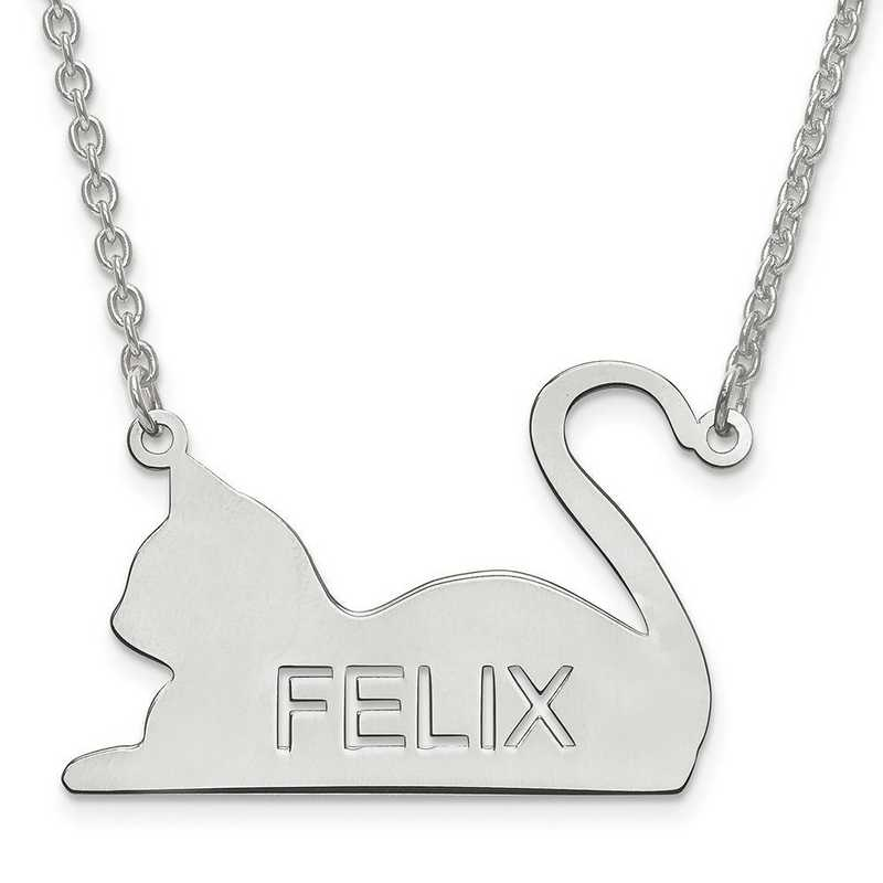 XNA689SS: Sterling Silver Rh-p Laser Polished Cat Name Pendant w/Chain