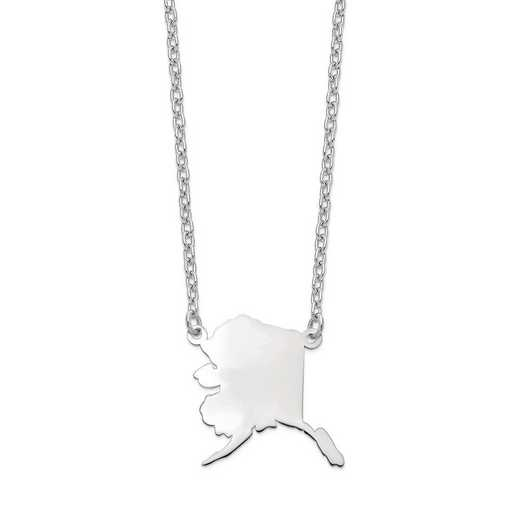 XNA706W-AK: 14k White Gold AK State Pendant with chain