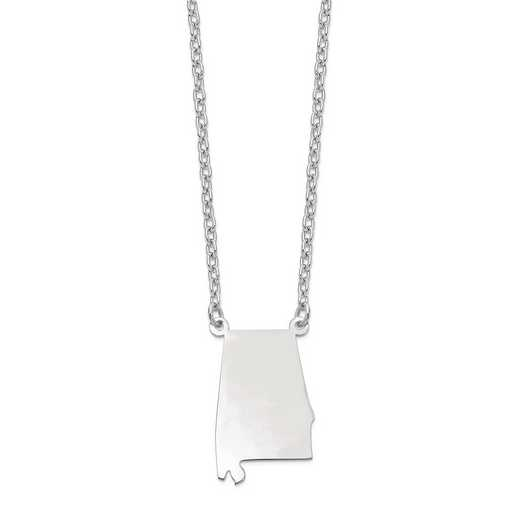 XNA706W-AL: 14k White Gold AL State Pendant with chain