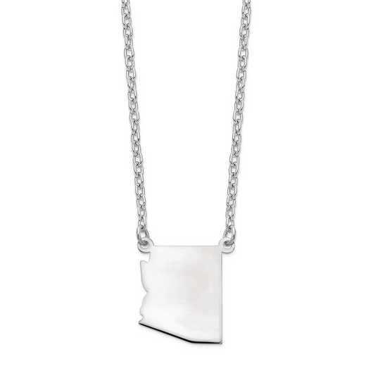XNA706W-AZ: 14k White Gold AZ State Pendant with chain