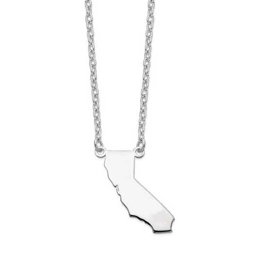 XNA706W-CA: 14k White Gold CA State Pendant with chain