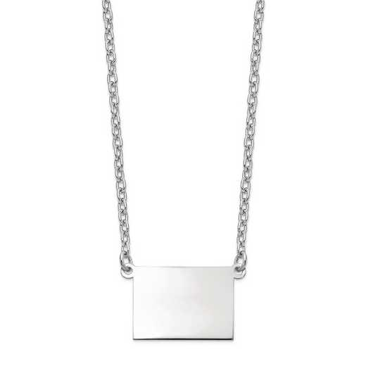 XNA706W-CO: 14k White Gold CO State Pendant with chain