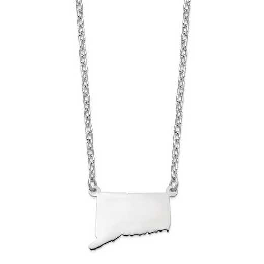 XNA706W-CT: 14k White Gold CT State Pendant with chain