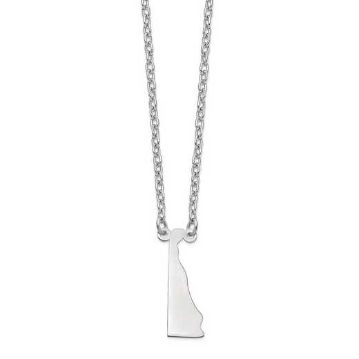XNA706W-DE: 14k White Gold DE State Pendant with chain