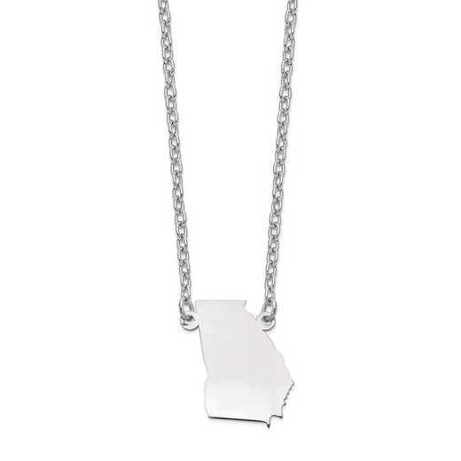 XNA706W-GA: 14k White Gold GA State Pendant with chain