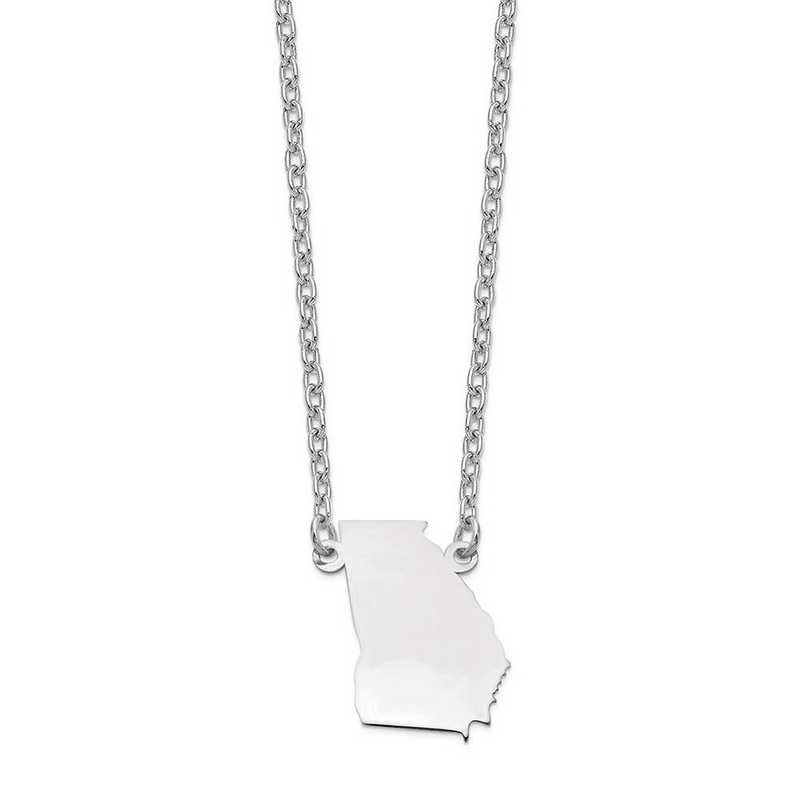 XNA706W-GA: 14k White Gold GA State Pendant with chain