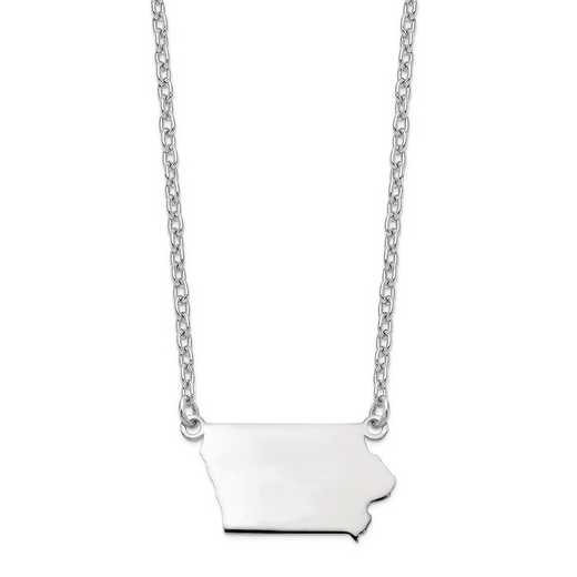 XNA706W-IA: 14k White Gold IA State Pendant with chain