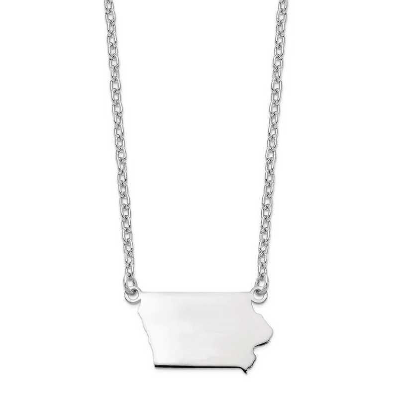 XNA706W-IA: 14k White Gold IA State Pendant with chain