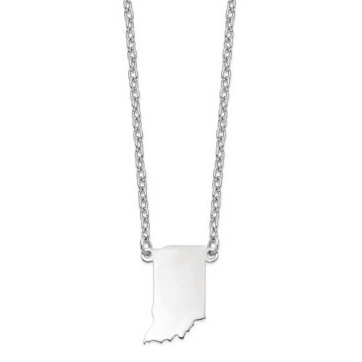XNA706W-IN: 14k White Gold IN State Pendant with chain