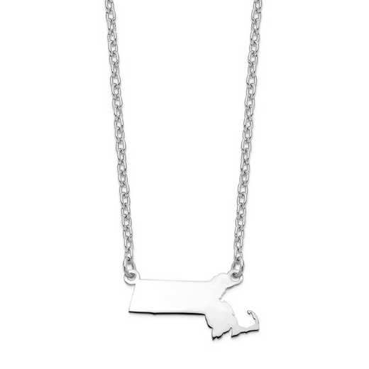 XNA706W-MA: 14k White Gold MA State Pendant with chain