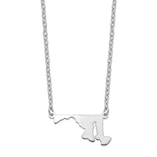 XNA706W-MD: 14k White Gold MD State Pendant with chain