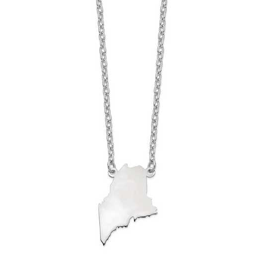 XNA706W-ME: 14k White gold ME State Pendant with chain