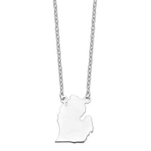 XNA706W-MI: 14k White Gold MI State Pendant with chain