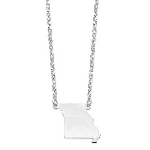 XNA706W-MO: 14k White Gold MO State Pendant with chain