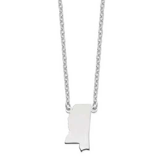 XNA706W-MS: 14k White Gold MS State Pendant with chain