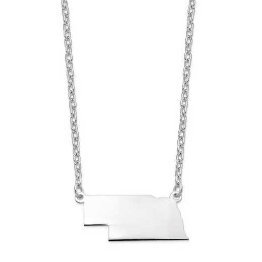 XNA706W-NE: 14k White Gold NE State Pendant with chain