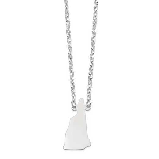 XNA706W-NH: 14k White Gold NH State Pendant with chain