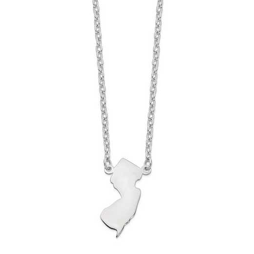 XNA706W-NJ: 14k White Gold NJ State Pendant with chain