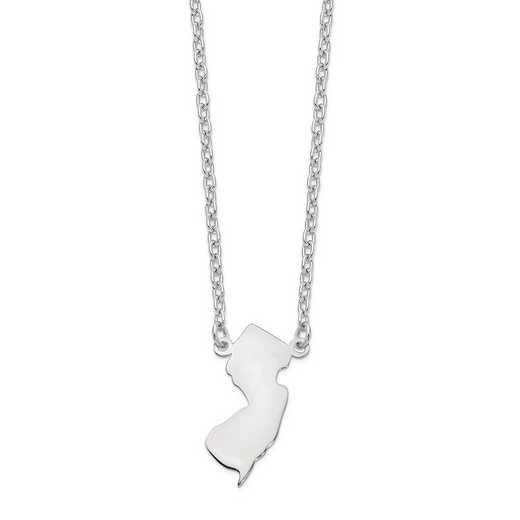 XNA706W-NJ: 14k White Gold NJ State Pendant with chain