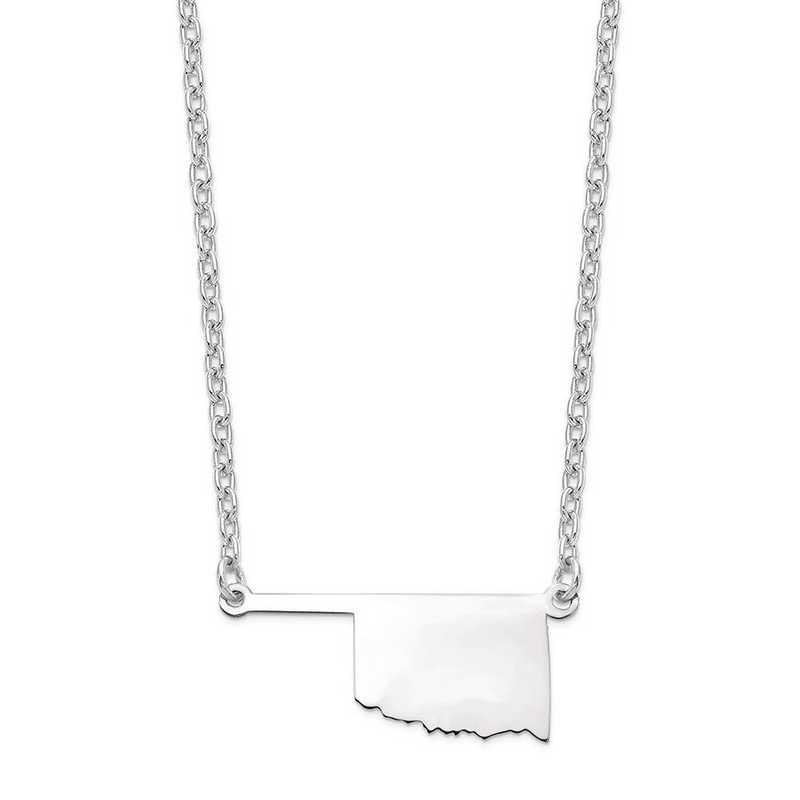 XNA706W-OK: 14k White Gold OK State Pendant with chain