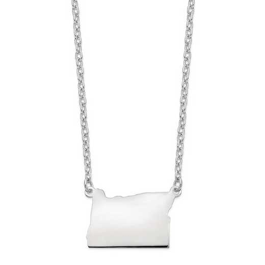 XNA706W-OR: 14k White Gold OR State Pendant with chain